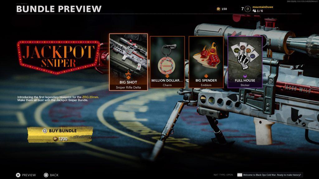 ZRG comprando el paquete Jackpot Sniper